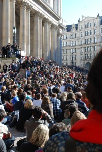 Julian Assange speaking at the steps of Saint Paul's Cathedral, 2011.